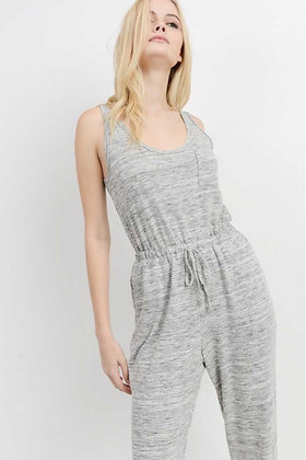 Marbled French Terry sleeveless jumpsuit