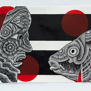recurring cycles   woman and carpSilkscreen, Wood-engraving, Collage Ed: 2 recurring cycles   woman and carp
