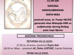 Proslava 30-te godišnjice osnutka župe Njivice:  Nedjelja 06.12.2020.