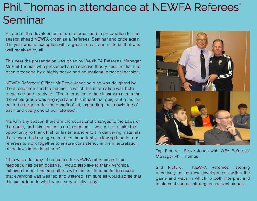 Phil Thomas in attendance at NEWFA Referees Seminar