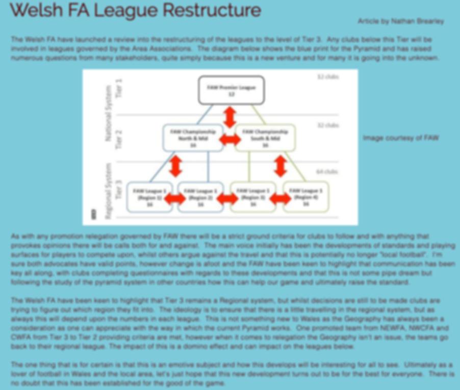 Welsh FA League Restructure