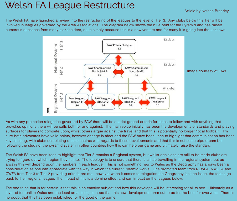 Welsh FA League Restructure