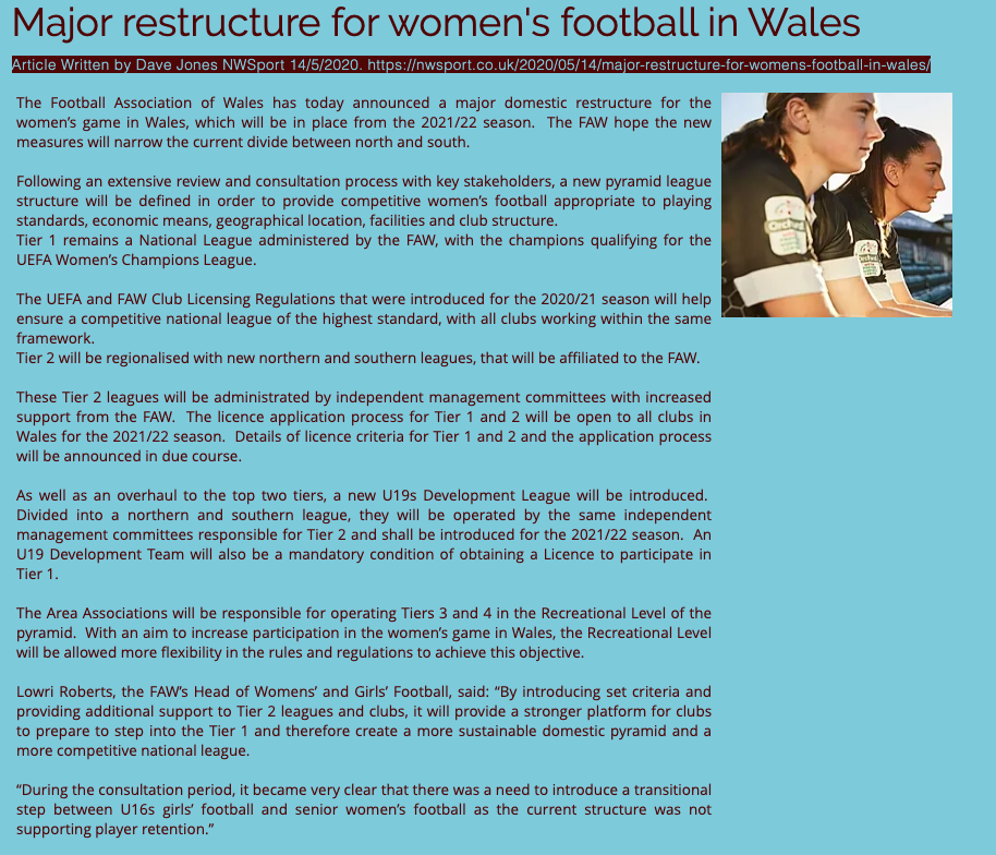 Major Changes to Welsh Women's Game