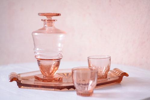 Service à liqueur, apéritif en verre rose, art déco année 50