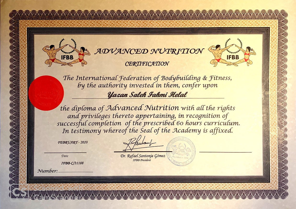 IFBB Diploma of Advanced Nutrition Specialist