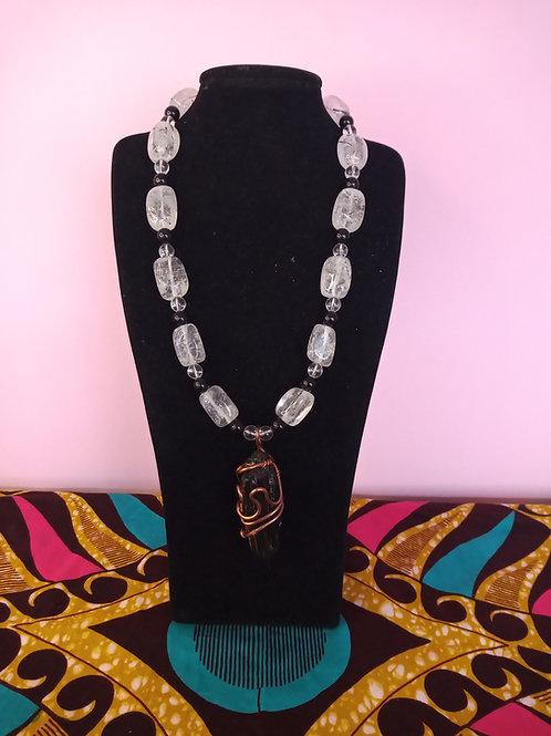 Tourmalinated Quartz Pendant & Necklace