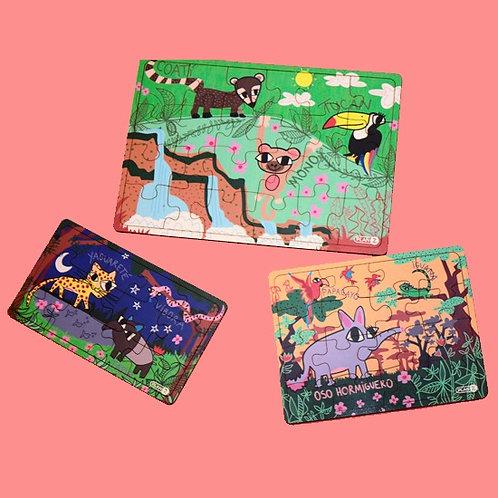 Pack de 3 Rompecabezas De Madera La Selva