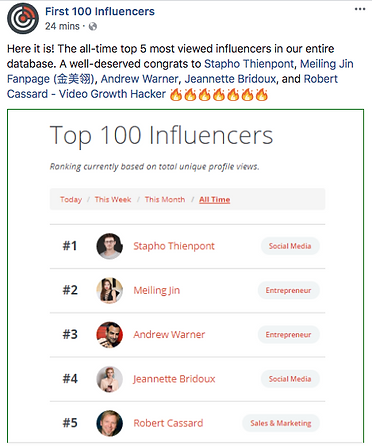 First 100 Influencers