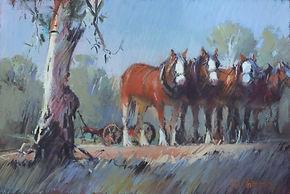 Working team, Rushworth -Pastel 28 x 48