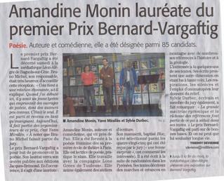 Amandine Monin est lauréate du prix de poésie Vargaftig!