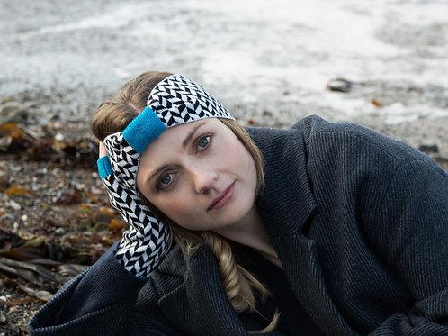 Classic Herringbone in Blue Headband