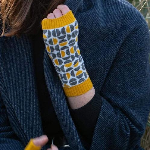 Spheres in mustard 100% lambswool wrist warmers