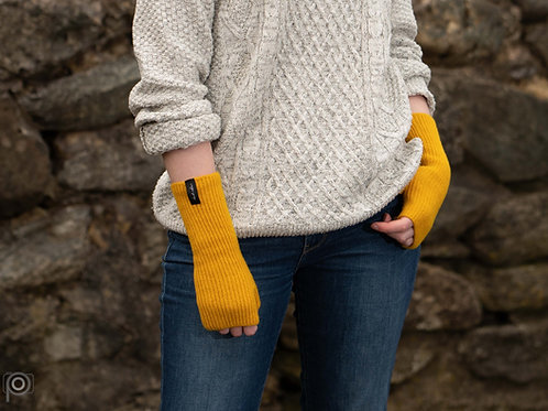 Mustard yellow wrist warmers