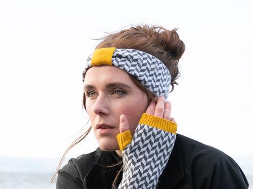 Classic Herringbone Headband in Mustard