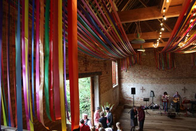Colourful ribbon Barn Wedding Decoration