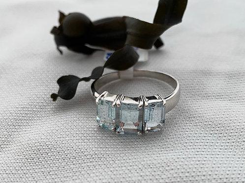 Aquamarine Ring in 9ct White Gold.    T4712