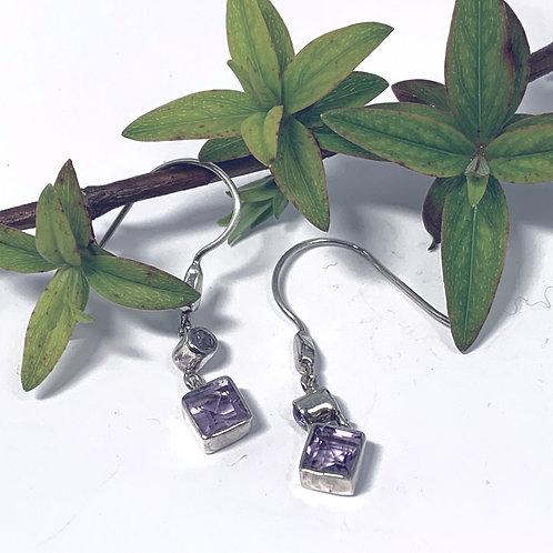 Amethyst Silver Drop Earrings. - P1407