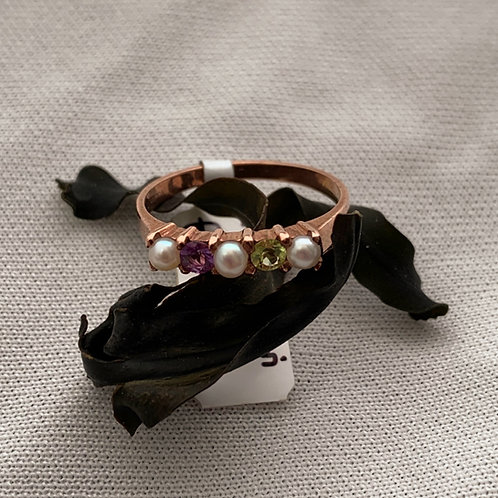Cultured Pearls, Amethyst and Peridot Ring - Rose gold. R2998