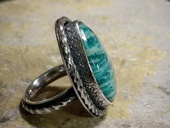 Silver ring with large Amazonite cabochon