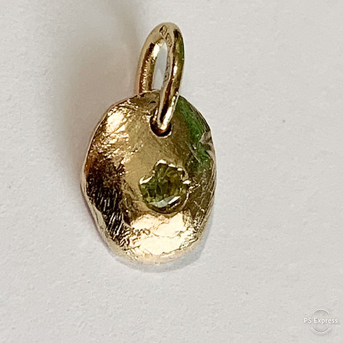 Green Sapphire Pendant - 9ct Gold