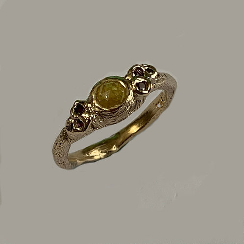 Diamond and Rubies ring in 9 carat yellow gold.