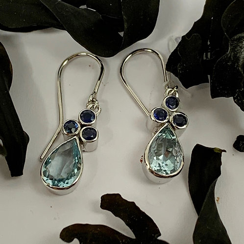 Aquamarine and Blue Sapphire Drop Earrings - 9ct Gold  T4700