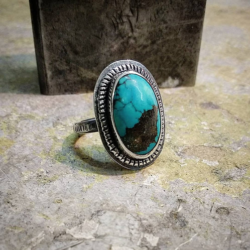 Turquoise Cabochon set in Sterling Silver