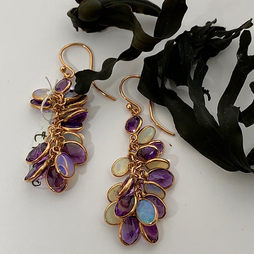 Amethyst and Opal drop Earrings - 9ct Rose Gold   T4703
