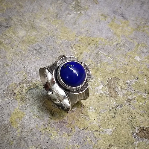 Silver ring with Lapis cabochon flower setting-textured finish