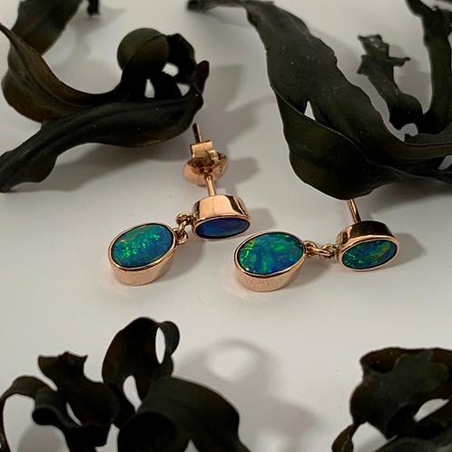 Opal Earrings set in 9ct Rose Gold   T4697