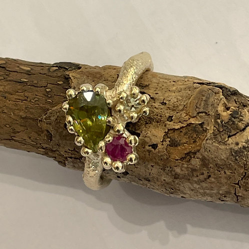Sphene, Ruby and Diamond Freeform Ring in 9 ct Gold