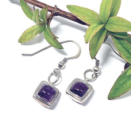 Amethyst - Silver Drop Earrings. - M7379
