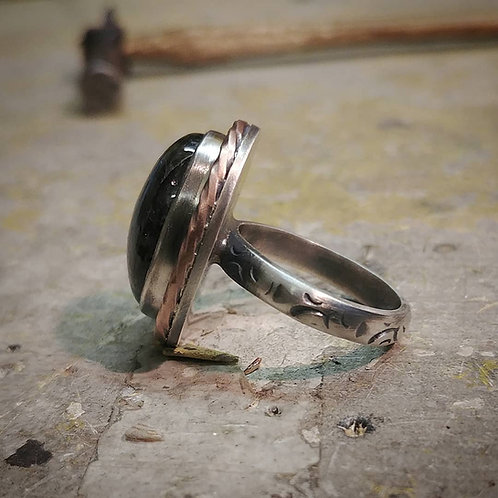 Sterling Silver and Copper ring with Labradorite