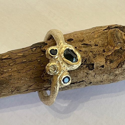 Sapphires and Diamond Hand Made Ring - 9ct Gold