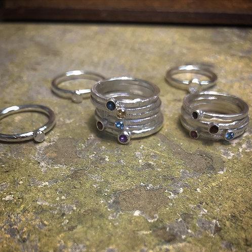 Silver Stone Set Rings