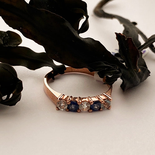 Sapphire and Auamarine Ring in 9ct Rose Gold.  T4719