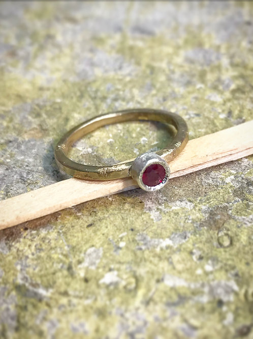 Ruby Ring set in silver with 9ct gold ring