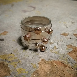 Silver textured ring with 9ct solid gold ball