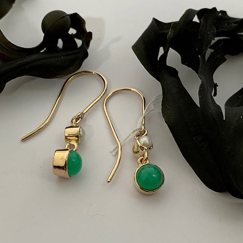 Chrysoprase and Cultured Pearl Earrings - 9ct Gold   T4707