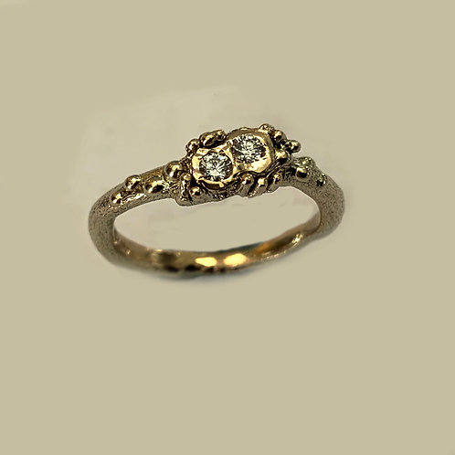 Two Stone Diamond Free Form Ring in 9 ct Gold