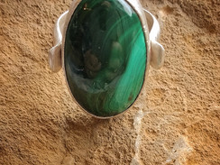 Silver ring with malachite cabochon- size L