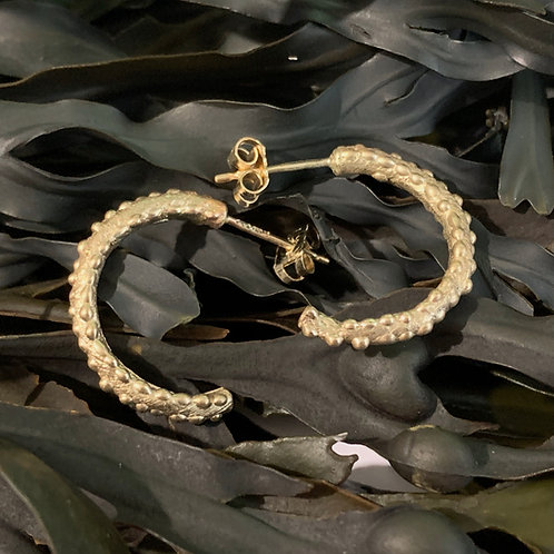 Seaweed Half Hoop Earrings - 9ct Gold