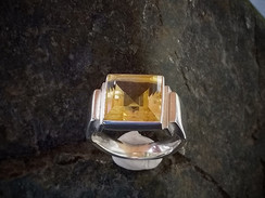 Gents signet ring in silver with square citrine