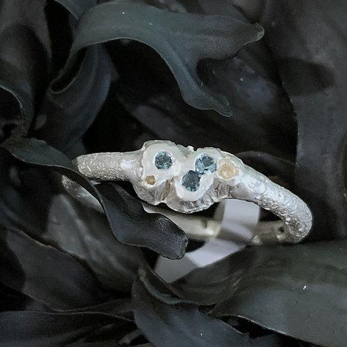 Three Stone Green Tourmaline Silver Ring