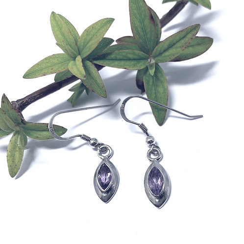 Amethyst - Silver Drop Earrings. - M8757