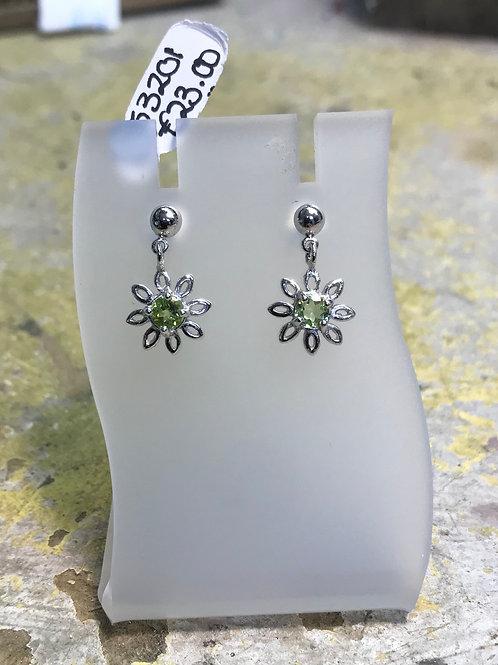 Peridot Sunflower Earrings