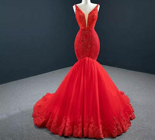 Deep V-neck evening dress