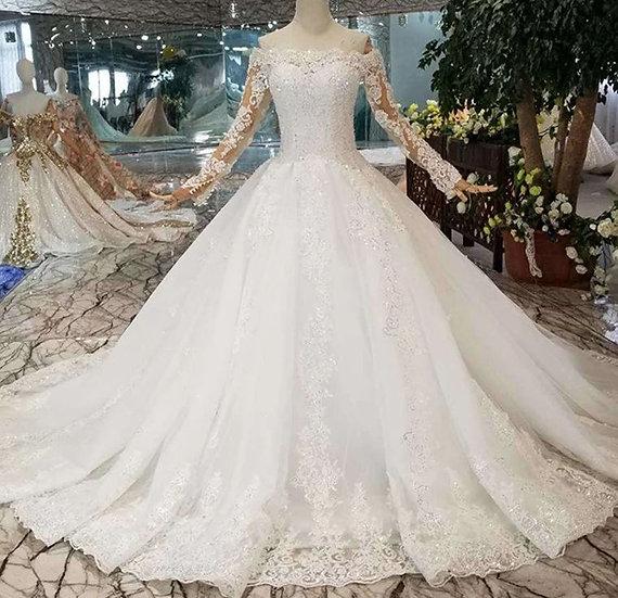 Bohemian wedding dress off shoulder