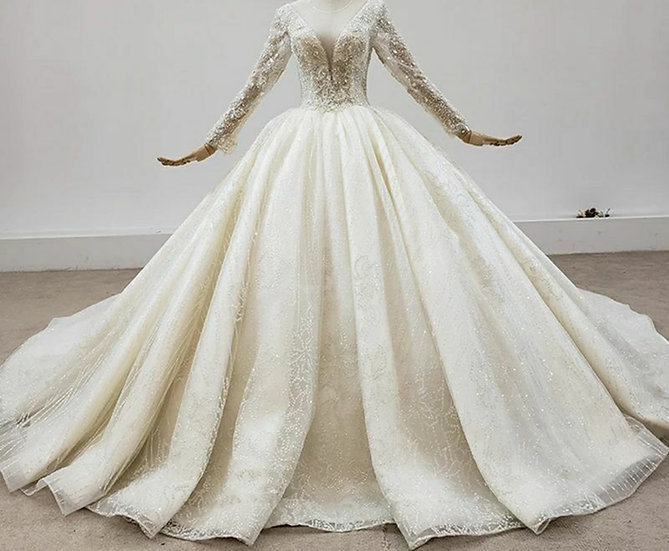 Luxurious V-Neck Ball-Gown