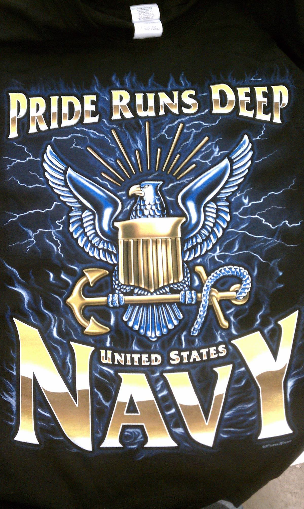 Navy Puff Ink Screen Print